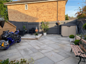 <p>With plenty of TLC, it now looks like the perfect spot to unwind. Giving it a refresh, Sharon added slabs, built raised planters and painted the fence an on-trend grey. </p>