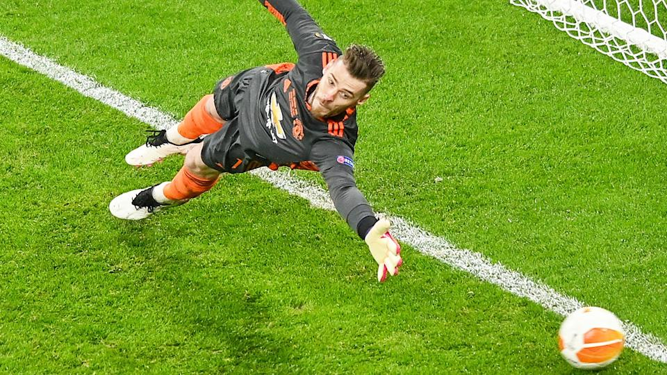David De Gea, pictured here in action for Manchester United in the Europa League final.