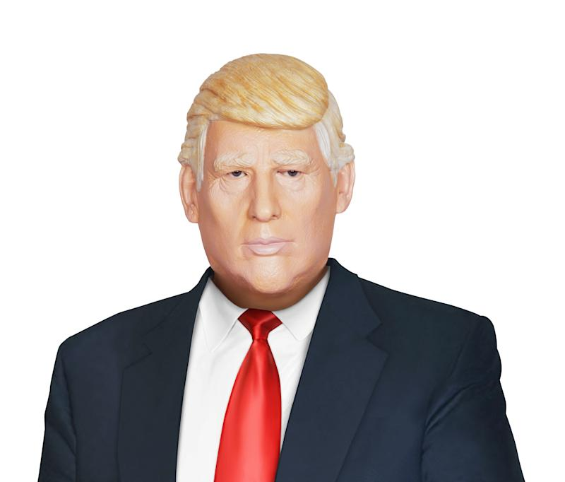 "As <a href=""http://www.spirithalloween.com/product/candidate-mask/120940.uts?keyword=donald%20trump&thumbnailIndex=1&Search=Find+It"" target=""_blank"">Trump masks</a> go, this one captures the smug pucker of his lips and his rubbery skin tone. However, the hair is too flattering and looks more genuine than the locks belonging to ""The Donald"" himself. ($21.99, SpiritHalloween.com)"