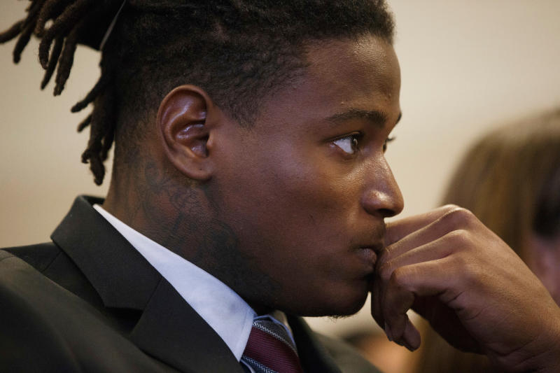 San Francisco 49ers linebacker Reuben Foster appears for his arraignment at the Santa Clara County Hall of Justice on April 12. (AP)