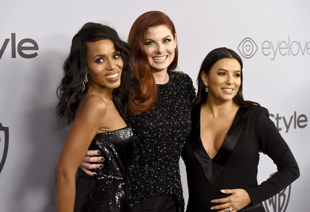 <p>Kerry Washington, Debra Messing, and Eva Longoria walked the carpet together at the InStyle and Warner Bros. Golden Globes after-party. (Photo: Chris Pizzello/Invision/AP) </p>