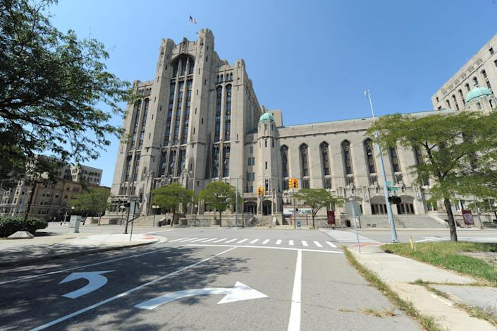 This Aug. 23 2012 photo shows the Detroit's historic Masonic Temple. Musician Jack White has played springtime Santa, paying a $142,000 back tax bill for the temple. The move prevents a threatened auction of the famed venue where The Who and the Rolling Stones once played. (AP Photo/Detroit News, Max Ortiz) DETROIT FREE PRESS OUT; HUFFINGTON POST OUT