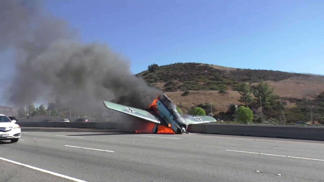 A small plane crashed on the westbound 101 in Agoura Hills on Tuesday, and the fiery wreck shut down both sides of the freeway.