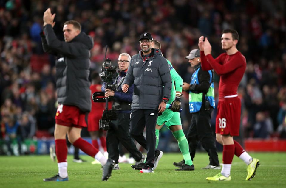 Jurgen Klopp and Liverpool players at full time. (Photo by Nick Potts/PA Images via Getty Images)