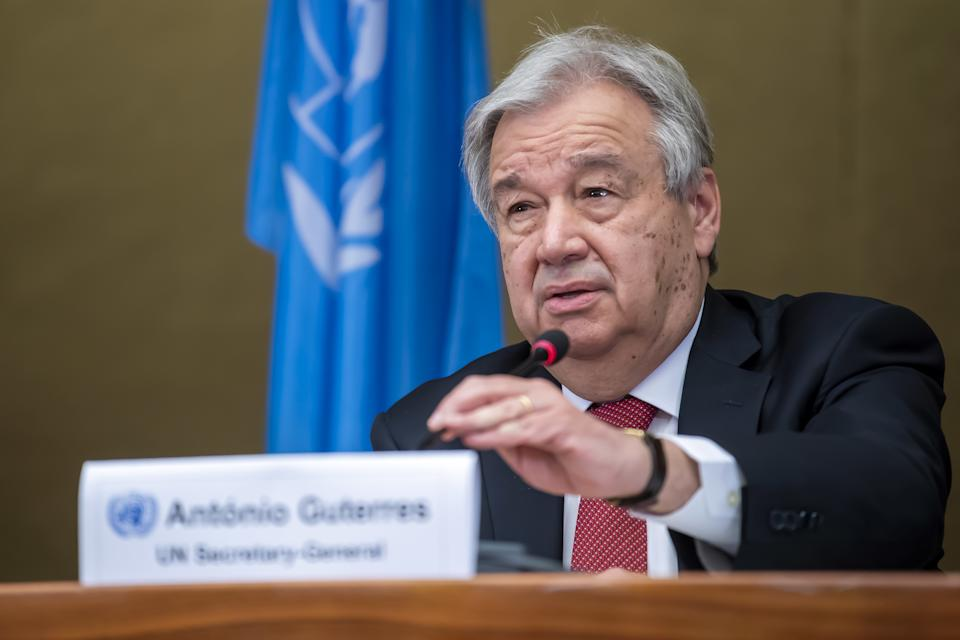 UN Secretary-General Antonio Guterres, speaks to the media, during a press conference about the end of a 5+1 Meeting on Cyprus, at the European headquarters of the United Nations in Geneva, Switzerland.