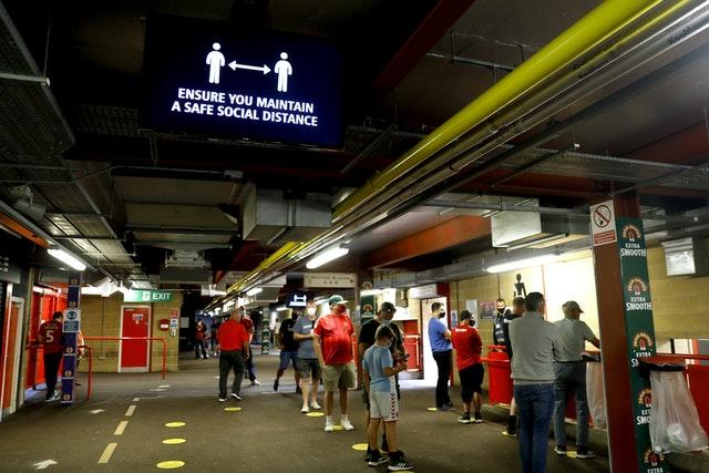 Safety warnings were clear on the concourses at The Valley