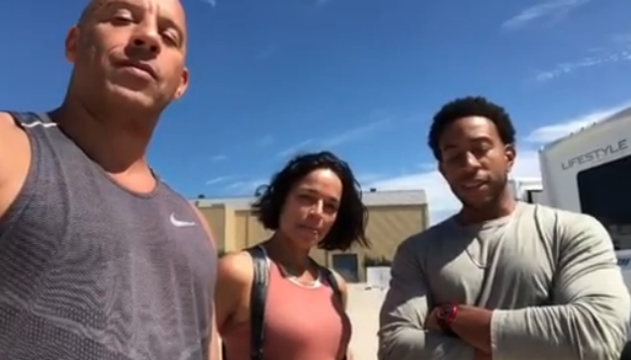 Vin Diesel, Michelle Rodriguez and Ludacris on the set of F&F9 (Credit: Instagram)