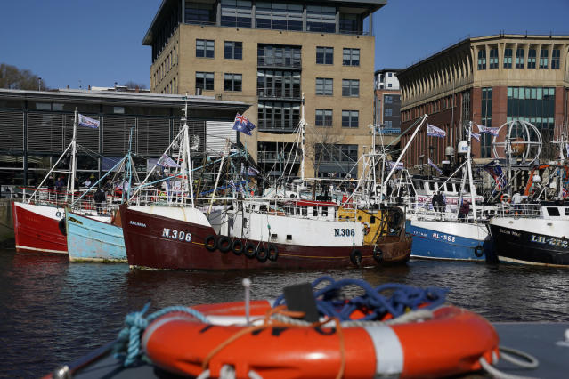 Fishing vessels display pro-Brexit flags during a protest at Newcastle Quayside earlier this year (Picture: PA)