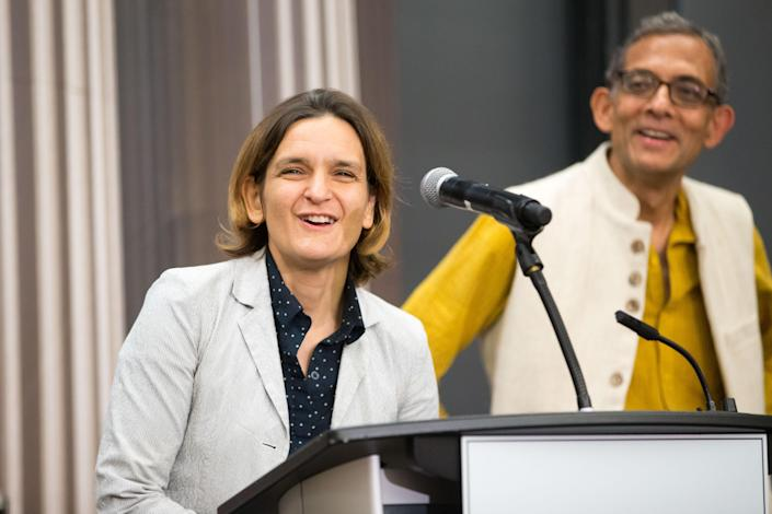 CAMBRIDGE, MA - OCTOBER 14: Esther Duflo and Abhijit Banerjee, who share a 2019 Nobel Prize in Economics with Michael Kremer, answer questions during a press conference at Massachusetts Institute of Technology on October 14, 2019 in Cambridge, Massachusetts. (Photo by Scott Eisen/Getty Images)