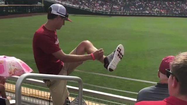 "<p>This Arkansas Razorbacks fan should've had a great day at the College World Series on June 17. His team had an <a href=""http://www.arkansasrazorbacks.com/razorbacks-beat-texas-in-cws-opener/"" rel=""nofollow noopener"" target=""_blank"" data-ylk=""slk:impressive victory"" class=""link rapid-noclick-resp"">impressive victory</a> over the Texas Longhorns.</p><p>However, his memories of the day will largely consist of being on the wrong end of a brutal tackle.</p><p>During a rain delay, he was filmed by a fellow baseball fan running on to the field of play, only to get <a href=""https://www.seccountry.com/arkansas/watch-arkansas-baseball-fan-gets-crushed-after-running-on-field-at-college-world-series"" rel=""nofollow noopener"" target=""_blank"" data-ylk=""slk:tackled"" class=""link rapid-noclick-resp"">tackled</a> by a security guard in a move that one sports reporter attending the game <a href=""https://twitter.com/mlananna/status/1008480836067438592"" rel=""nofollow noopener"" target=""_blank"" data-ylk=""slk:compared to"" class=""link rapid-noclick-resp"">compared to</a> a hit from <span class=""caps"">NFL</span> star Jadeveon Clowney. Credit: Spencer Gibson via Storyful</p>"