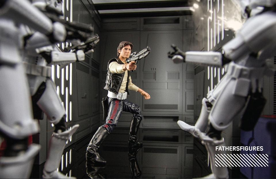 """<p>""""I love the part when Han runs off and chases the stormtroopers on the Death Star… The idea for my shot was to show this moment from the stormtroopers' perspective, and still make it look as though Han is surrounded."""" (Photo: <a href=""""https://www.instagram.com/fathersfigures/"""" rel=""""nofollow noopener"""" target=""""_blank"""" data-ylk=""""slk:@fathersfigures"""" class=""""link rapid-noclick-resp"""">@fathersfigures</a>/Hasbro) </p>"""
