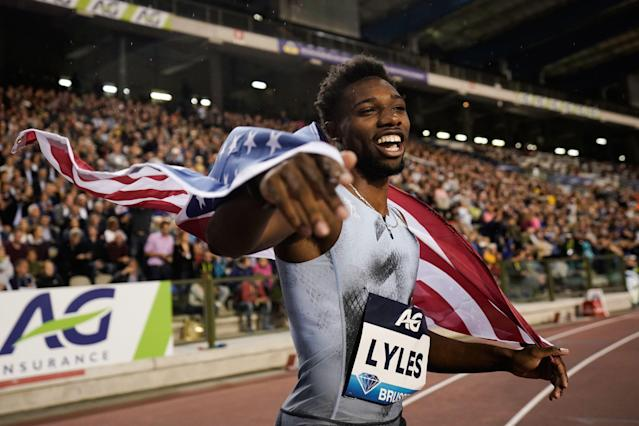 "United States sprinter Noah Lyles's ""chaotic race"" gave him yet another record over <a class=""link rapid-noclick-resp"" href=""/olympics/rio-2016/a/1056797/"" data-ylk=""slk:Usain Bolt"">Usain Bolt</a>. (Photo by Kenzo TRIBOUILLARD / AFP/Getty Images)"