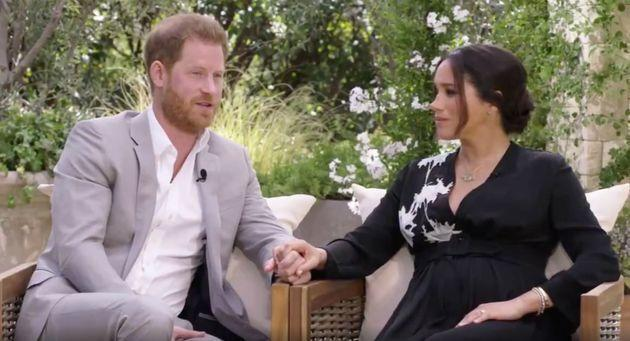 Prince Harry and Meghan Markle in a clip from their upcoming primetime special with Oprah Winfrey. (Photo: HARPO PRODUCTIONS/ PHOTOGRAPHER: JOE PUGLIESE)