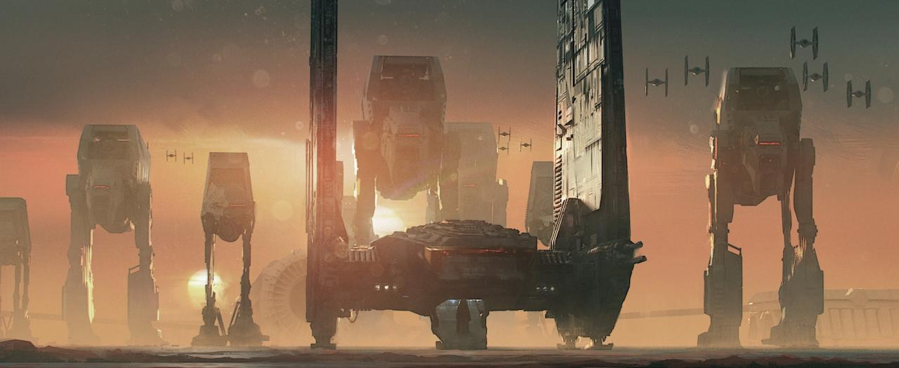 <p>Kylo Ren prepares to disembark after his command shuttle touches down on the mineral planet Crait ahead of the encroaching <span>— </span>and imposing — First Order forces in this striking image by James Clyne. (Image courtesy of Abrams Books and Lucasfilm Ltd. Used under authorization.) </p>
