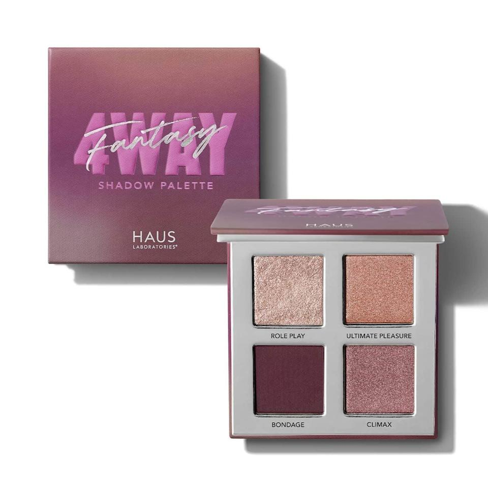 """<h3>Haus Laboratories Four-Way Shadow Palette</h3><br>Glam up your above-the-mask territory with a smoky eyeshadow quad like this Haus Laboratories stunner. Bonus points for shade names like """"Role Play"""" and """"Climax.""""<br><br><strong>Haus Laboratories</strong> Four-Way Shadow Palette, $, available at <a href=""""https://amzn.to/35F6pJB"""" rel=""""nofollow noopener"""" target=""""_blank"""" data-ylk=""""slk:Amazon"""" class=""""link rapid-noclick-resp"""">Amazon</a>"""