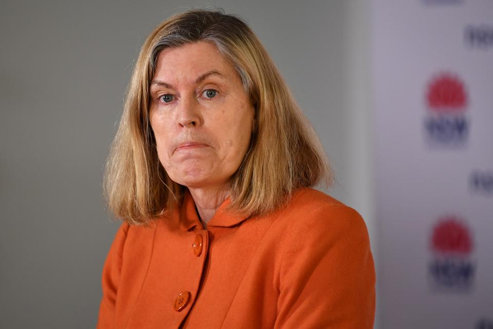NSW Chief Health Officer Kerry Chant speaks to the media during a press conference in Sydney, Sunday. Source: AAP