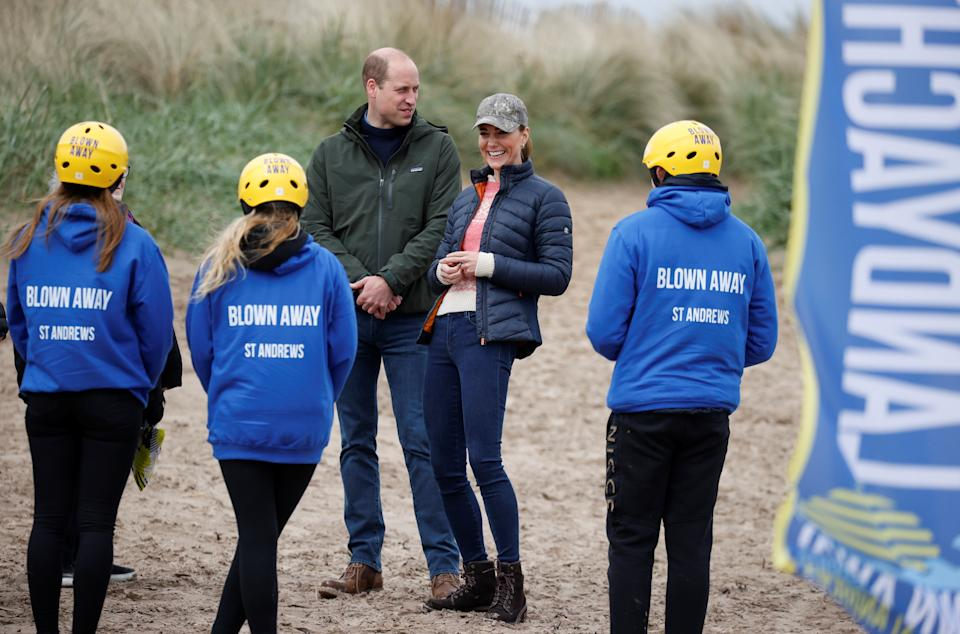The Duke and Duchess of Cambridge speak with members of Fife Young Carers at St Andrews beach. Picture date: Wednesday May 26, 2021.