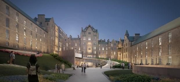 The Royal Vic site has cost the MUHC about $7.5 million annually to maintain. The new project, if approved, will cost about $700 million. (Submitted by Diamond Schmitt Lemay Michaud Architects - image credit)
