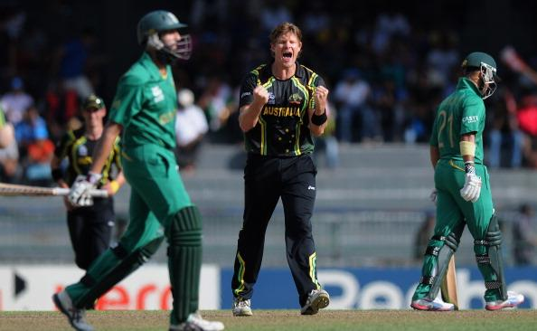 COLOMBO, SRI LANKA - SEPTEMBER 30:  Shane Watson of Australia celebrates after taking the wicket of Hashim Amla of South Africa as the latter walks back during the Ninth super eight match between Australia and South Africa held at R. Premadasa Stadium on September 30, 2012 in Colombo, Sri Lanka.  (Photo by Pal Pillai/Getty Images,)