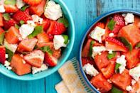 """<p>Step aside, all other <a href=""""https://www.delish.com/uk/cooking/recipes/a30527061/easy-fruit-salad-recipe/"""" rel=""""nofollow noopener"""" target=""""_blank"""" data-ylk=""""slk:fruit salads"""" class=""""link rapid-noclick-resp"""">fruit salads</a>.</p><p>Get the <a href=""""https://www.delish.com/uk/cooking/recipes/a33008255/watermelon-strawberry-caprese-salad-recipe/"""" rel=""""nofollow noopener"""" target=""""_blank"""" data-ylk=""""slk:Watermelon Strawberry Caprese Salad"""" class=""""link rapid-noclick-resp"""">Watermelon Strawberry Caprese Salad</a> recipe.</p>"""