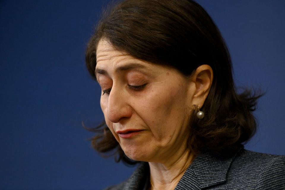 NSW Premier Gladys Berejiklian speaks to the media during a press conference to announce her resignation, in Sydney, Friday, October 1, 2021.