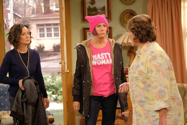 "L-R: Sara Gilbert, Laurie Metcalf, Roseanne Barr in the 2018 premiere of ""Roseanne."" (ABC)"