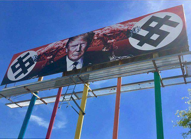 The billboard showing Donald Trump with the 'dollar swastika' has created some controversy. Source: Facebook/Karen Fiorito