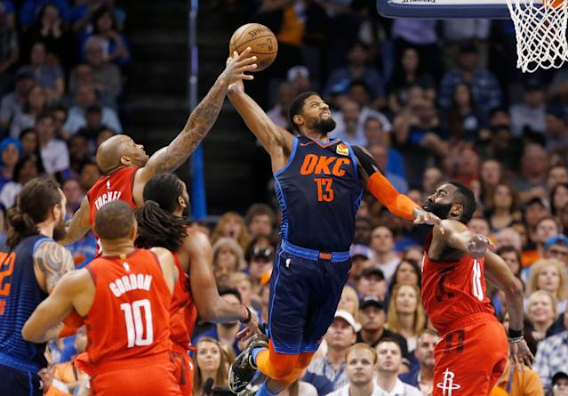 Paul George hit a game-winning 3-pointer on Tuesday night to lift the Thunder past the Houston Rockets. (AP Photo/Sue Ogrocki)