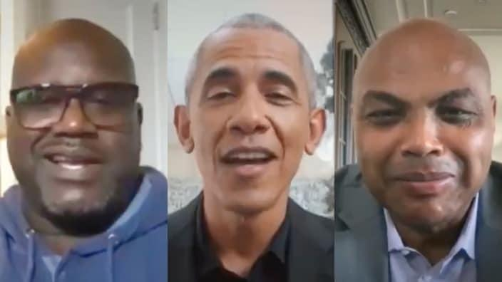 Shaquille O'Neal, Barack Obama and Charles Barkley speak on the importance of getting the COVID-19 vaccine. Photo: theGrio collage