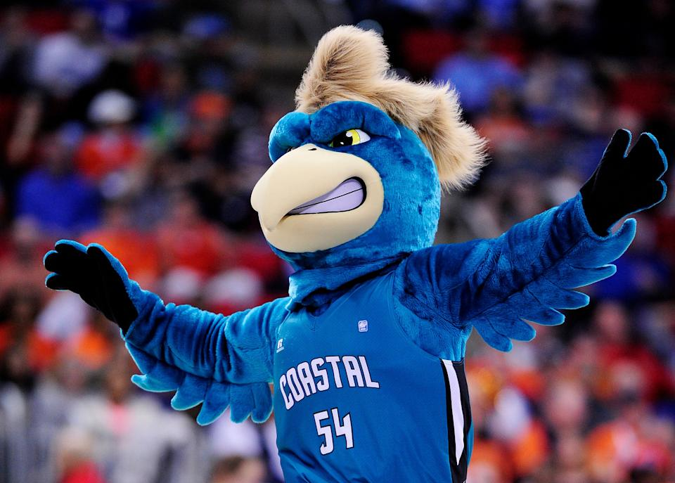 RALEIGH, NC - MARCH 21:  The Coastal Carolina Chanticleers mascot performs in the second half against the Virginia Cavaliers during the Second Round of the 2014 NCAA Basketball Tournament at PNC Arena on March 21, 2014 in Raleigh, North Carolina.  (Photo by Grant Halverson/Getty Images)