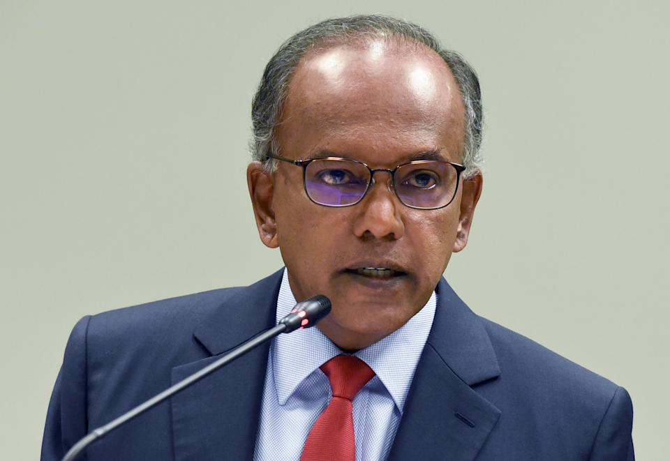 Singapore's Minister of Law Kasiviswanathan Shanmugam speaks during a press conference along with deputy speaker of the parliament and chairman of the Select Committee on Deliberate Online Falsehoods, in Singapore on September 20, 2018. (Photo by Roslan RAHMAN / AFP)        (Photo credit should read ROSLAN RAHMAN/AFP via Getty Images)