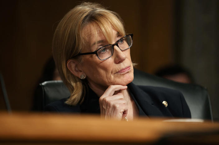 Sen. Maggie Hassan (D-N.H.) listens to testimony on Capitol Hill in Washington.