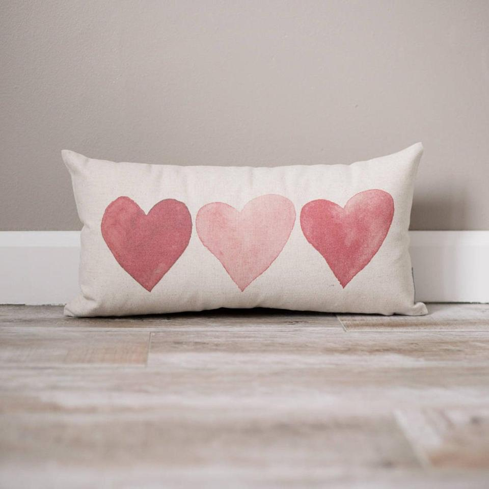 <p>This <span>Hearts Pillow</span> ($29 and up) is too cute.</p>