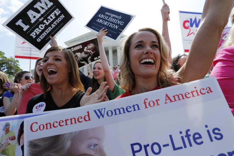 Anti-abortion demonstrators cheer as the ruling for Hobby Lobby was announced outside the U.S. Supreme Court in Washington