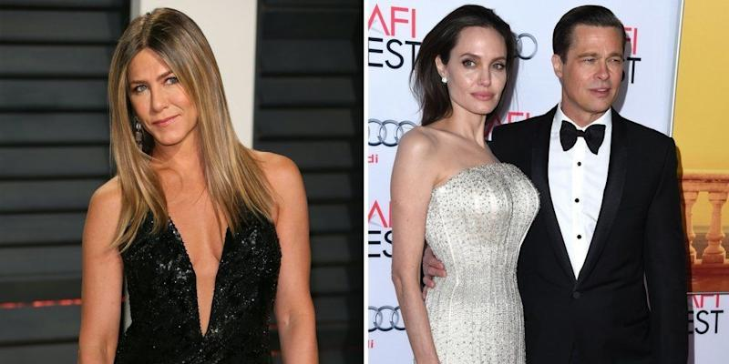 """It's been more than adecade since<a href=""""http://www.huffingtonpost.com/2015/01/05/jennifer-aniston-brad-pitt-divorce_n_6416368.html"""" target=""""_hplink"""" data-beacon-parsed=""""true"""">Jennifer Aniston and Brad Pitt split up</a>and he moved on with his """"Mr. and Mrs. Smith"""" co-star, <a href=""""https://www.huffingtonpost.com/topic/angelina-jolie"""">Angelina Jolie</a>. Still, Aniston continues to be asked about the love triangle. In an interview with <a href=""""http://www.etonline.com/news/156428_jennifer_aniston_talks_angelina_jolie_rivalry"""" target=""""_blank"""">Entertainment Tonight in January 2015</a>, Aniston called thestory """"tiresome and old.""""<br /><br />""""I think that's slowly coming to an end. I really do,"""" she saidof <a href=""""http://www.etonline.com/news/156428_jennifer_aniston_talks_angelina_jolie_rivalry"""" target=""""_blank"""">coverage of their reported rivalry</a>. """"I think that it's time people stop with that petty B.S. and just start celebrating great work and stop with the petty kind of silliness.""""<br /><br />Aniston had more pointed words for Pitt.In a <a href=""""https://www.vanityfair.com/news/2005/09/aniston200509"""" target=""""_blank"""">2005 interview with Vanity Fair</a> shortly after their split, she famously said the actor wasmissing a """"sensitivity chip."""" Jolie filed for divorce from Pitt in <a href=""""http://www.huffingtonpost.com/entry/angelina-jolie-allegedly-files-for-divorce-from-brad-pitt_us_57e148bde4b0071a6e097bef"""">September 2016</a>."""