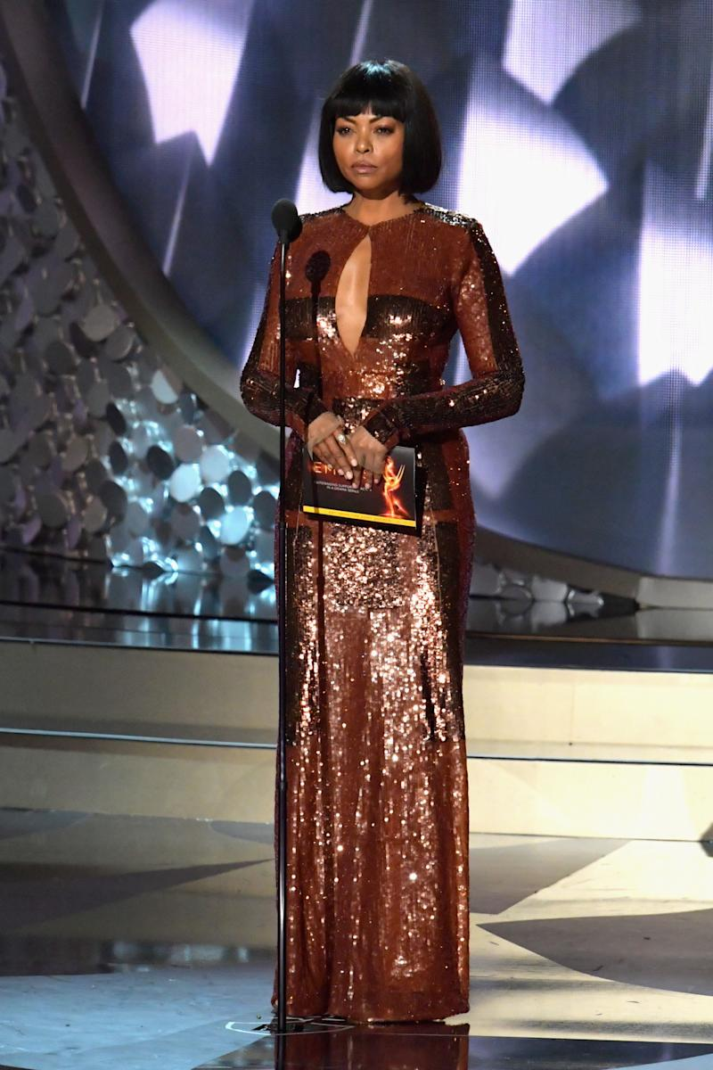 Henson switched up her look with a new sequin gown and wig. (Photo: Getty Images)