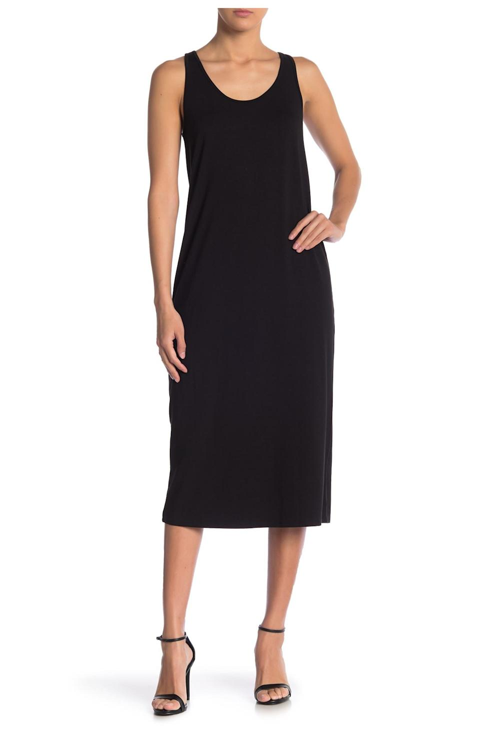 """<h2>Philosophy Cashmere Midi Tank Dress</h2><br>You really can't go wrong with a simple black tank dress — especially one that's always under $20. This style has hundreds of glowing reviews from shoppers who are all about its versatility and non-clingy fit. <br><br><strong>The Hype:</strong> 4.4 out of 5 stars; 342 reviews on NordstromRack.com<br><strong><br>What They're Saying:</strong> """"The sale price may give you pause, but you'd be missing out, I cannot believe how perfect this dress is for summer fun! I usually only wear the color black, but I bought four out of six colors. The fabric has body so that it drapes and doesn't cling. The scoop neck is in the right position for someone who doesn't want too much cleavage showing. A perfect day to evening dress."""" — nodiva, NordstromRack.com reviewer<br><br><strong>Philosophy Cashmere</strong> Scoop Neck Midi Tank Dress, $, available at <a href=""""https://go.skimresources.com/?id=30283X879131&url=https%3A%2F%2Fwww.nordstromrack.com%2Fs%2Fphilosophy-cashmere-scoop-neck-midi-tank-dress%2F6044409"""" rel=""""nofollow noopener"""" target=""""_blank"""" data-ylk=""""slk:Nordstrom Rack"""" class=""""link rapid-noclick-resp"""">Nordstrom Rack</a>"""