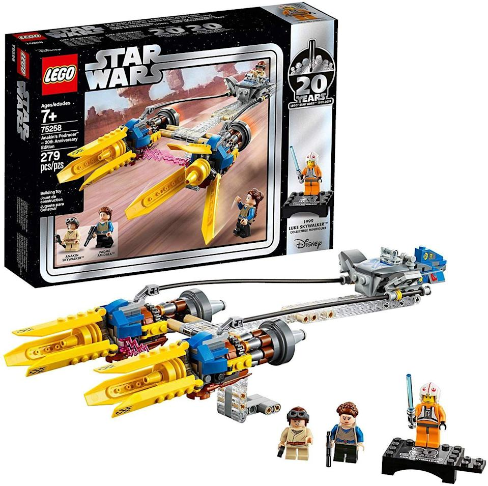 "<p><strong>LEGO</strong></p><p>amazon.com</p><p><strong>$27.68</strong></p><p><a href=""https://www.amazon.com/dp/B07JLZPQST?tag=syn-yahoo-20&ascsubtag=%5Bartid%7C10055.g.29624061%5Bsrc%7Cyahoo-us"" rel=""nofollow noopener"" target=""_blank"" data-ylk=""slk:Shop Now"" class=""link rapid-noclick-resp"">Shop Now</a></p><p>Star Wars/LEGO crossover sets have now been around for more than 20 years — yippee! — and LEGO marked the occasion last year with a few anniversary sets, including this one of the pod race from <em>The Phantom Menace</em>. The set comes with minifigs of Anakin Skywalker, Padmé Amidala, and a 20th Anniversary edition of Luke Skywalker. <em>Ages 7+</em></p><p><strong>RELATED:</strong> <a href=""https://www.goodhousekeeping.com/childrens-products/toy-reviews/a29465472/good-housekeeping-toy-awards-2019/"" rel=""nofollow noopener"" target=""_blank"" data-ylk=""slk:The 2019 Good Housekeeping Best Toy Awards"" class=""link rapid-noclick-resp"">The 2019 <em>Good Housekeeping</em> Best Toy Awards</a></p>"