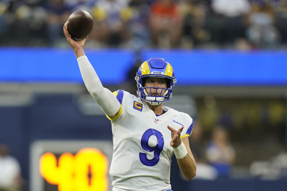 Los Angeles Rams quarterback Matthew Stafford throws a pass during the first half of an NFL football game against the Chicago Bears, Sunday, Sept. 12, 2021, in Inglewood, Calif. (AP Photo/Jae C. Hong)