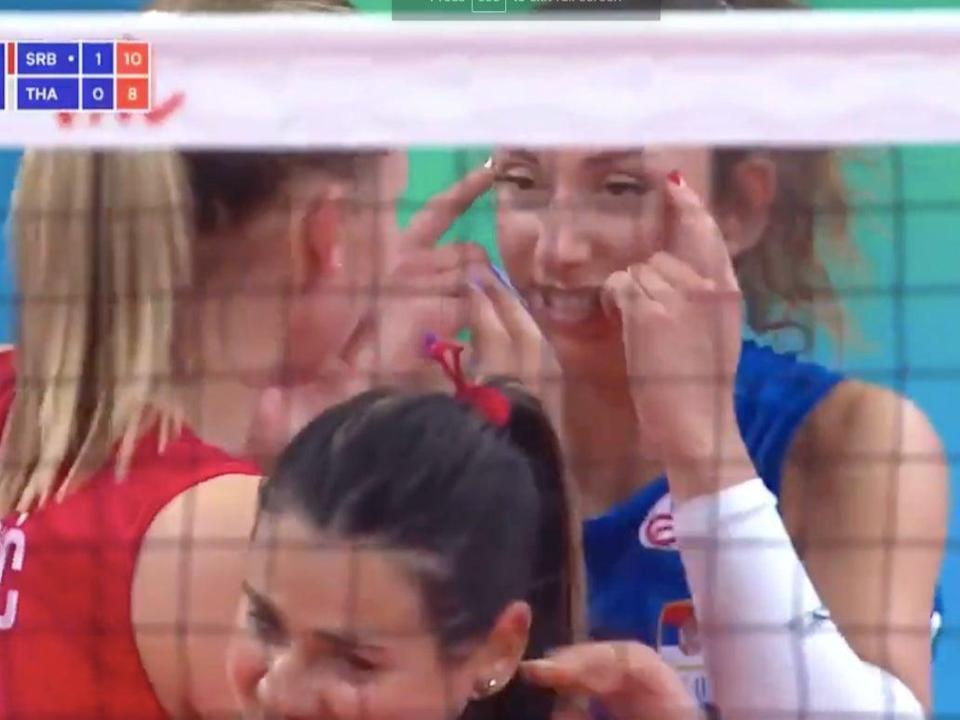 Sanja Djurdjevic was caught on camera making a racist gesture during a match against Thailand  (Screengrab/Video)