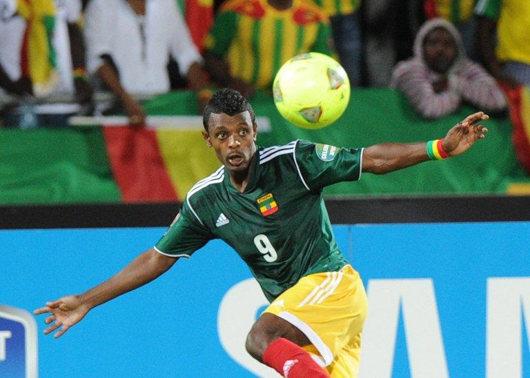 Ethiopia's Getaneh Kebede eyes the ball at the Royal Bafokeng stadium in Rustenburg on January 29, 2013
