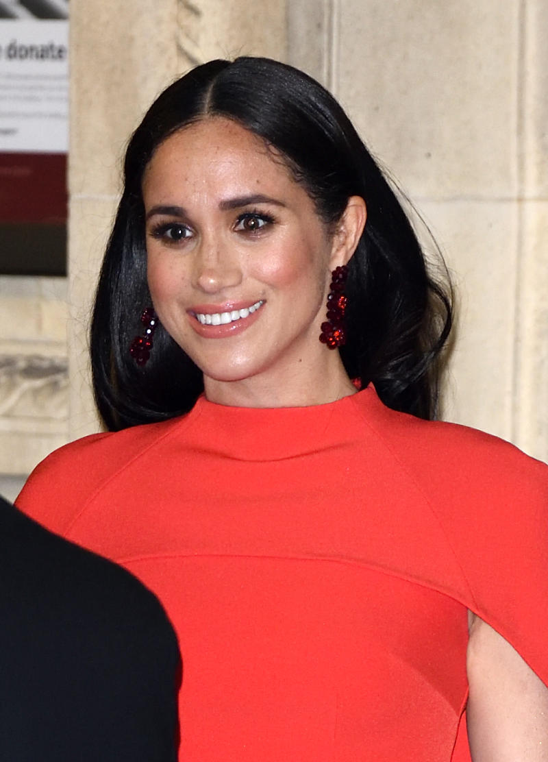 LONDON, ENGLAND - MARCH 07: Meghan, Duchess of Sussex accompanied by Prince Harry, Duke of Sussex attends the Mountbatten Festival of Music at Royal Albert Hall on March 07, 2020 in London, England. (Photo by Karwai Tang/WireImage)