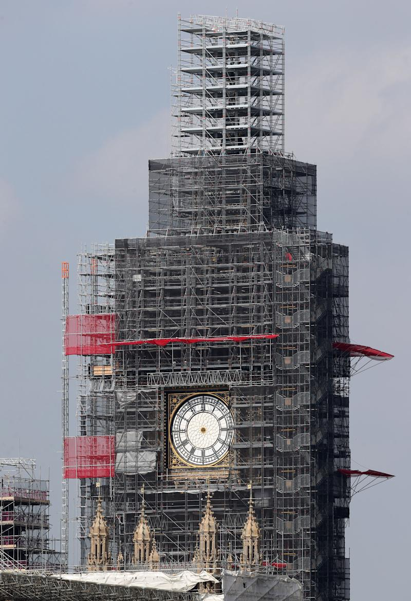 "Embargoed to 0001 Monday October 07 File photo dated 7/10/2019 of the clock hands of Elizabeth Tower at the Palace of Westminster have been removed for maintenance and restoration work. The spire of Big Ben is set to be revealed from beneath its scaffolding in a ""key moment"" in the tower's renovation."