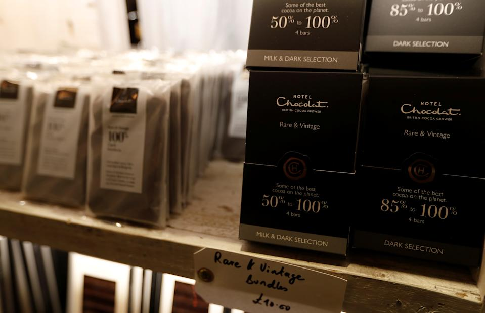 Hotel Chocolat products are seen on sale at Rabot 1745, in London, Britain December 1, 2017. Picture taken December 1, 2017.  REUTERS/Peter Nicholls
