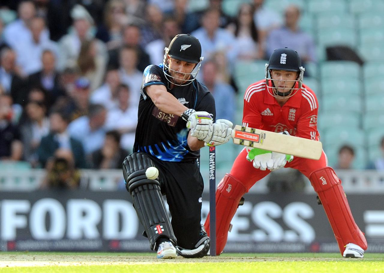 New Zealand's Hamish Rutherford hits a six during the Natwest International Twenty20 match at the Kia Oval, London.