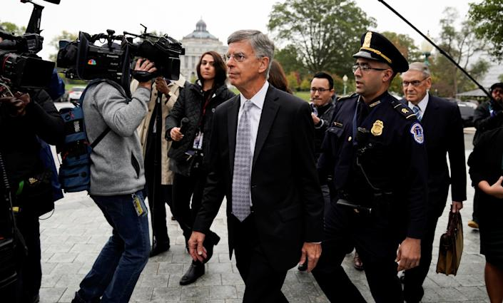 William Taylor Jr. arrives to testify on Capitol Hill on Oct. 22. (Photo: Carlos Jasso/Reuters)