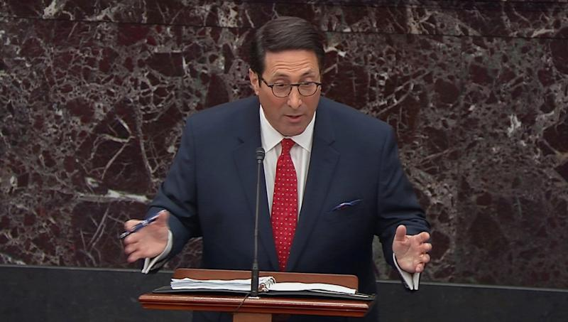 U.S. President Donald Trump's personal attorney Jay Sekulow speaks during opening arguments in the U.S. Senate impeachment trial of Trump in this frame grab from video shot in the U.S. Senate Chamber at the U.S. Capitol in Washington, U.S., January 21, 2020. (Screengrab: U.S. Senate TV/Handout via Reuters)