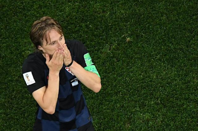 Croatia midfielder Luka Modric celebrates after his side's 3-0 victory against Argentina (AFP Photo/Kirill KUDRYAVTSEV)