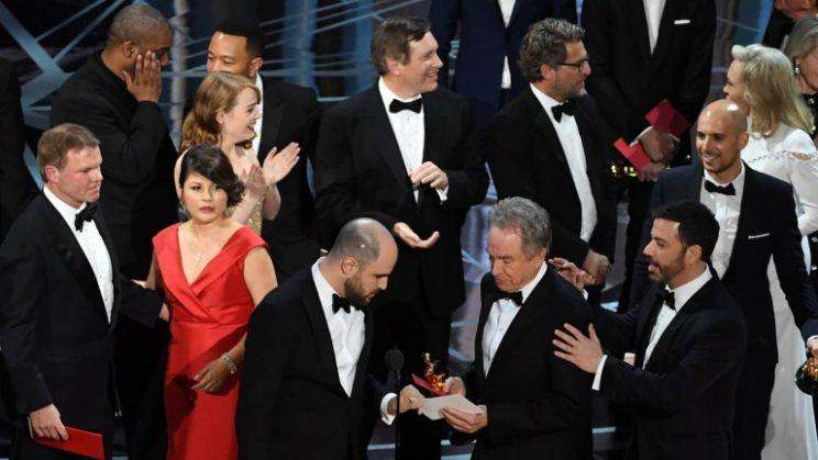 The scene onstage during the best picture announcement at the 89th Academy Awards