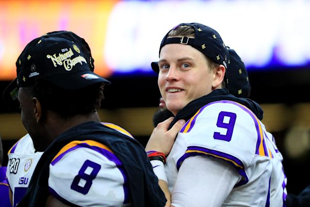 LSU's Joe Burrow celebrates after defeating the Clemson Tigers 42-25 in the College Football Playoff National Championship Game on Monday. (Mike Ehrmann/Getty Images)